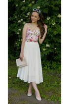 white romwe sunglasses - cream second hand skirt - white Sheinside vest