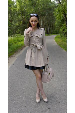 neutral Zlz coat - black romwe sunglasses - black Tally Weijl skirt