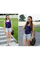 silver H&M shorts - navy Loompex top - light purple CCC sandals