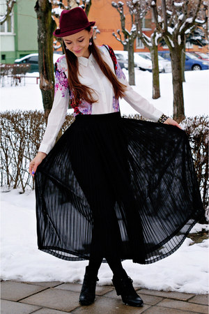 white Sheinside blouse - ruby red Top Secret hat - black second hand skirt