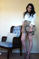 dark brown vintage christian dior bag - dark khaki silk donna karan shorts - lig