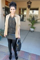 H&M tights - vintage Gucci bag - suede coach heels - leather no brand skirt - si