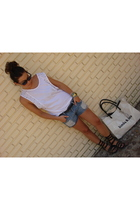 Zara t-shirt - nedd bless shorts - BLANCO shoes - Bimba&Lola accessories - Ray B