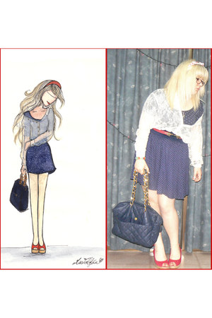 ivory lace shirt H&M shirt - navy Pull and Bear bag - red Tommy Hilfiger wedges