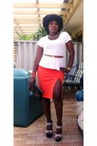Mossman skirt - Sportsgirl purse - rubi wedges - Sportsgirl belt - supre top