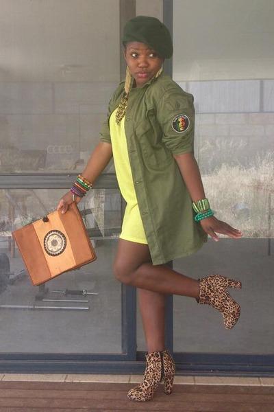 brown Target boots - yellow davenport dress - dark green love couture hat