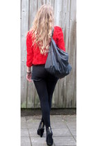 black River Island shoes - red H&M blazer - black Forever21 shorts
