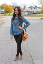 black leather H&M pants - camel ankle boots Charlotte Russe boots