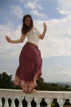 brick red skirt - hot pink skirt - cream blouse