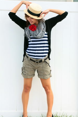 red Claires accessories - gray American Eagle scarf - black Old Navy cardigan -