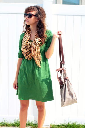 gold modcloth scarf - green Old Navy dress - brown Old Navy sunglasses - beige O