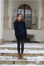 Dark-brown-bershka-boots-navy-h-m-coat-black-oasap-leggings