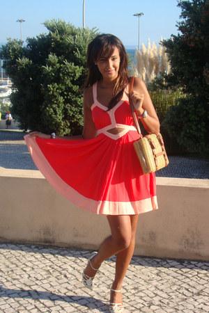 red asoscom dress - bronze BLANCO bag - beige River Island heels