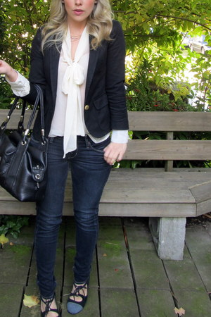 black Zara blazer - black Urban Outfitters shoes - eggshell piperlime blouse