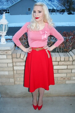 red vintage skirt - red vintage shoes - beige tights - pink vintage blouse