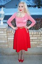 red vintage skirt - red vintage shoes - beige tights - pink vintage blouse