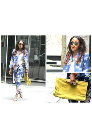Zara bag - Zara suit - I Love Coco sandals - ray-ban glasses