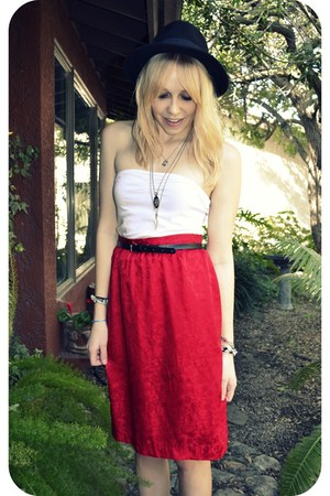 black H&M hat - red vintage skirt - white Forever 21 top