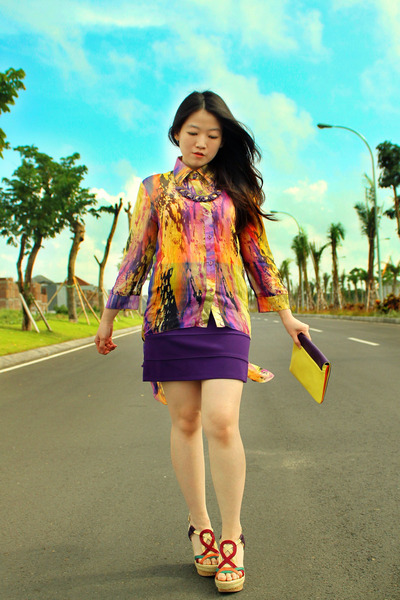 purple clutch vivienne westwood bag - deep purple bodycon skirt