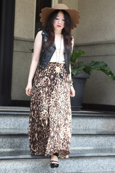 leopard maxi skirt - scallop asos hat - sleeveless top - leather Forever 21 vest