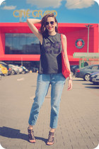 blue Front Row Shop jeans - red Zara bag - silver c&a sunglasses