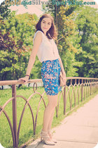 blue blackfive skirt - cream Deichmann shoes - white Takko shirt