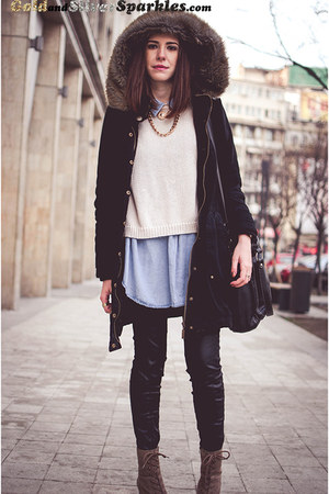 black Takko coat - dark khaki Deichmann boots - cream Front Row Shop sweater