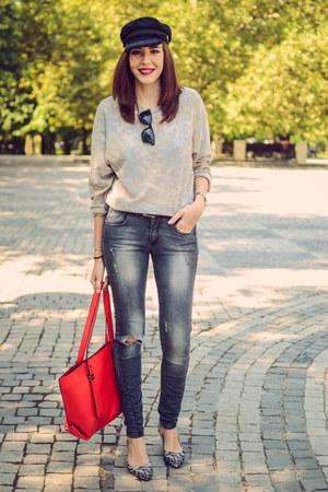 heather gray Kiabi jeans - black Choies hat - periwinkle no name sweater