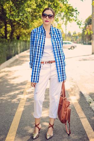 white pull&bear jeans - gold milanoo heels
