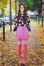 Vintage-skirt-geometric-cube-asos-sweater-house-of-holland-tights