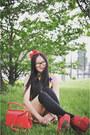 Yellow-geometric-vintage-dress-red-vintage-bag-black-asoscom-socks