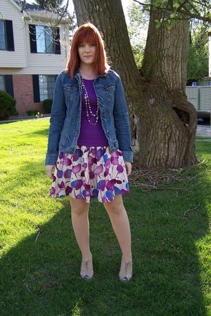 purple Target shirt - purple f21 skirt - beige f21 shoes - blue abercrombie and