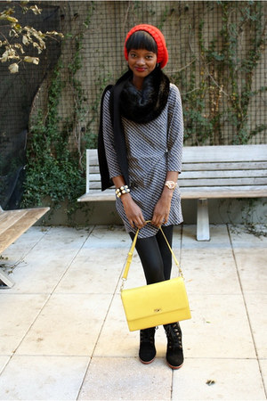 yellow j crew edie bag J Crew bag - black lace-up booties Bass boots