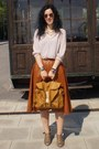 Neutral-h-m-blouse-h-m-wedges-tawny-moms-skirt-gold-ray-ban-glasses