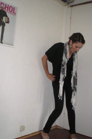 Top Shop shirt - Cheap Monday jeans - Prada shoes - H&M scarf