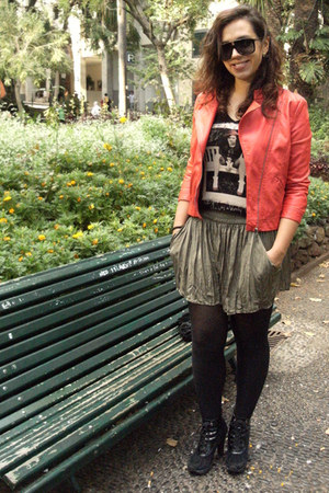 red biker Zara jacket - black DKNY boots - dark khaki Zara shorts