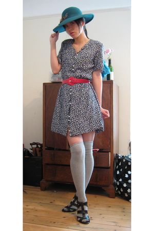 charity shop dress - charity shop hat - charity shop belt - Zara shoes