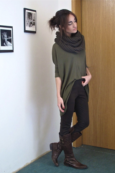 green wilfred shirt - green mens H&amp;M scarf - brown Zara pants