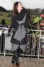 Black-coat-gray-wilfred-sweater-black-boots-black-h-m-scarf