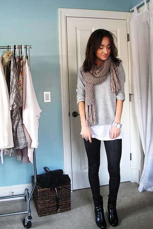H&M scarf - mens vintage sweater - needsupplycom shirt - SilenceNoise tights