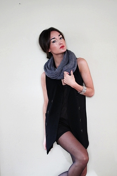 H&M scarf - Nordstroms vest - Noir bracelet - DIY tights - needsupply shirt - Za