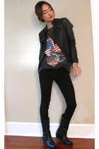 vintage shirt - Bershka jacket - Harley Davidson boots - Noir bracelet