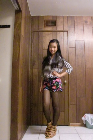 striped Forever 21 shirt - sheer Urban Outfitters tights - floral thakoon shorts