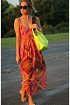 carrot orange Steve Madden dress - chartreuse Kenneth Cole bag