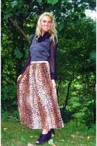 black thrifted vintage top - bronze asos skirt