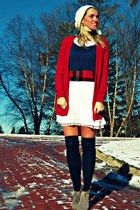 navy Zara dress - ruby red Gap cardigan