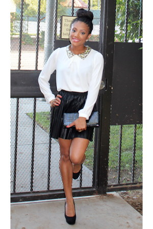 Forever 21 shirt - pleated Forever 21 skirt - plain Guess pumps