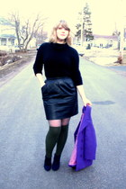 navy Spring boots - purple vintage jacket - black vintage sweater - heather gray