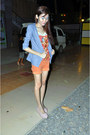 Heather-gray-blazer-blazer-orange-denim-shorts-wrangler-shorts