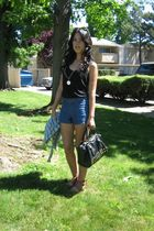black Old Navy top - blue Forever 21 shorts - brown Urban Outfitters shoes - bla